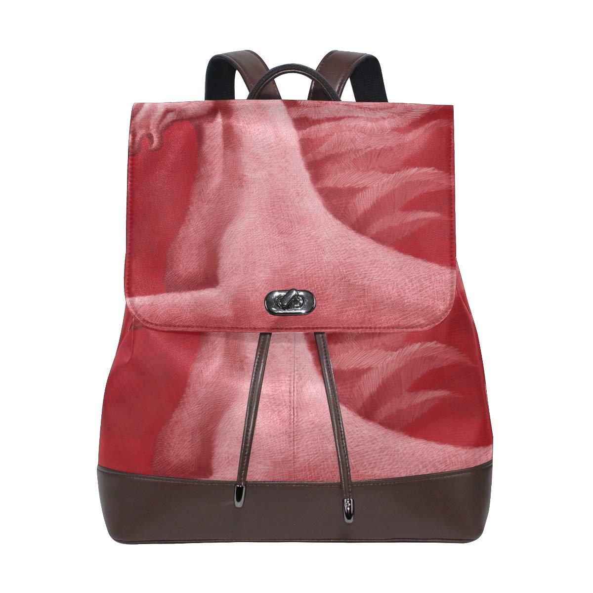 DEZIRO cuoio rosso Unicorn Horse School Pack zaino borsa da viaggio