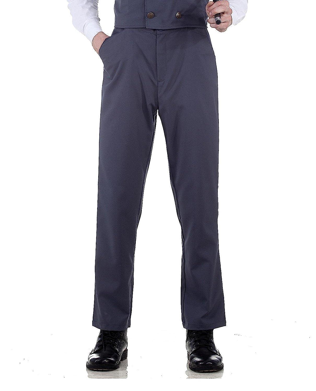 Steampunk Victorian Costume Canvas Classic Pants Grey HJ-UYFP-G831