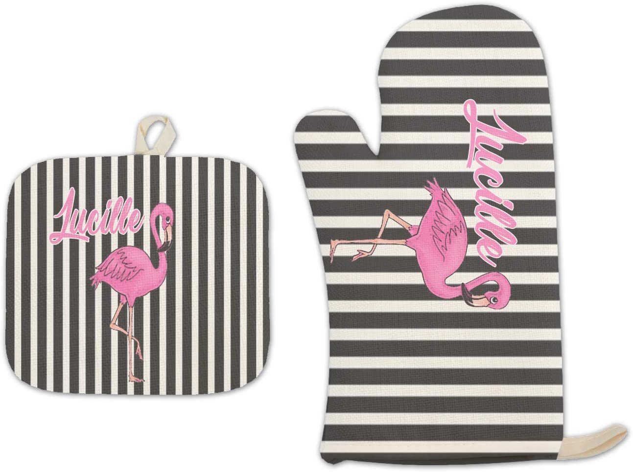 BRGiftShop Personalized Custom Name Black and White Stripes Bright Pink Flamingo Linen Oven Mitt and Potholder Set