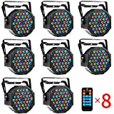 DJ Up Lighting CrtWorld 36 LED RGB Stage Lights By Remote And DMX Controller For Wedding Christmas Party (8 Pack)