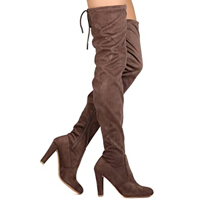3167c838eaaf Nature Breeze Women Faux Suede Thigh High Drawstring Cupped Heel Boot FH66  - Taupe (Size