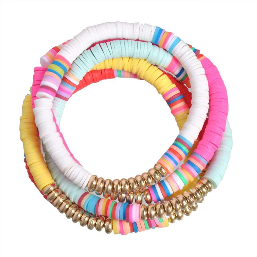 The Woos 10 PCS Handmade Rainbow Bead Bracelet Set Colorful Polymer Clay Disc Beads Waxed String Bracelets Boho Surf Stackable Stretch Charm Bracelet Jewelry Bracelets for Women Girl