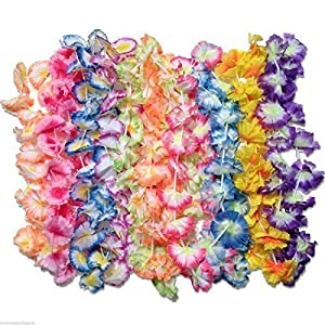 50 luau flower leis - jumbo carnation party pack fabric leis 21