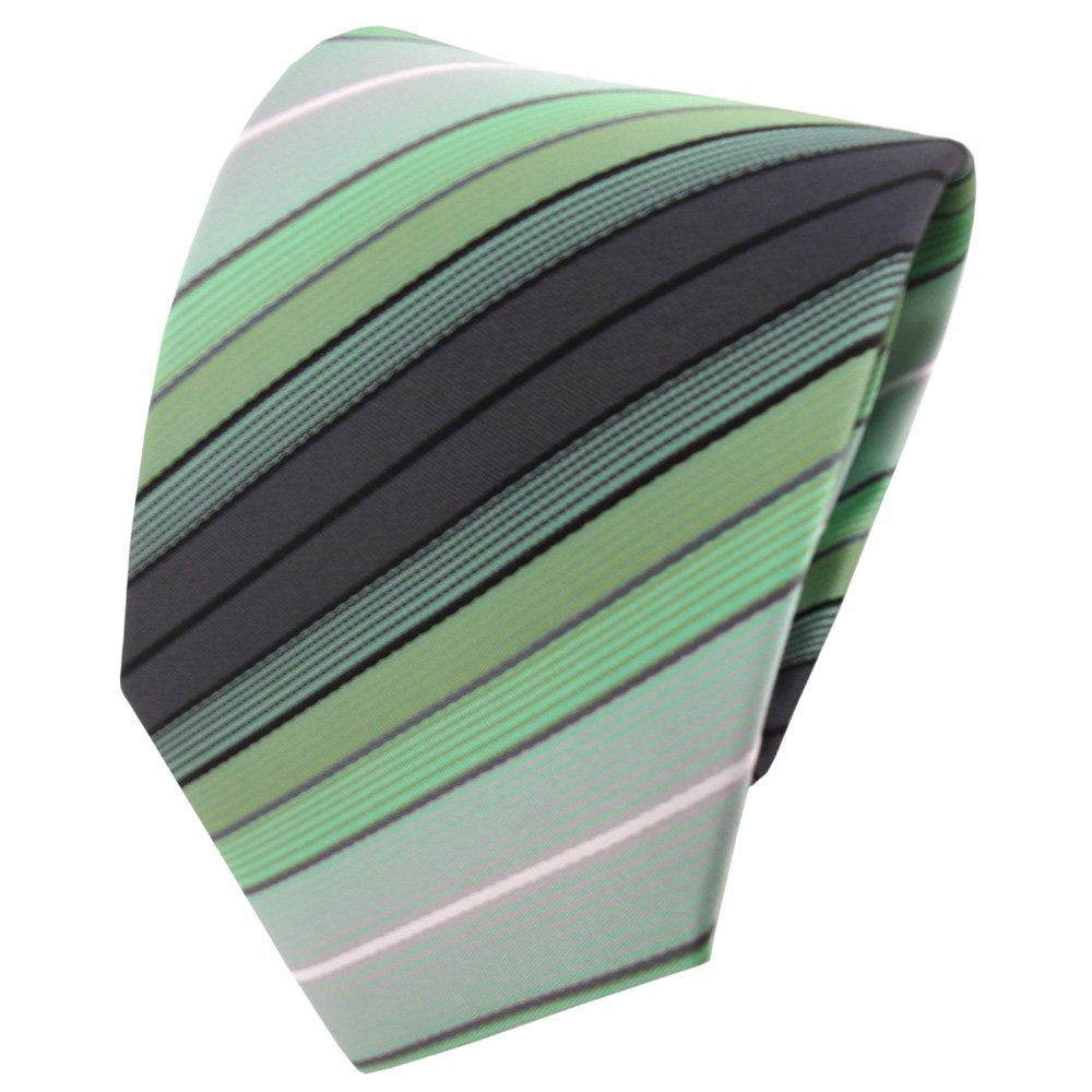 TigerTie - Corbata - menta verde antracita negro plata rayas ...