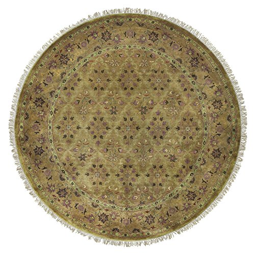 Surya Taj Mahal TJ-909 Traditional Hand Knotted 100% Semi-Worsted New Zealand Wool Bronze 8' Round Persian Area Rug