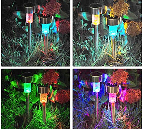 GardenKraft 19820 Stainless Steel Bollard LED Solar Lights| Solar Powered Pathway/Outdoor Seating Lights| Multi-Colour Changing LED Lights| Weatherproof| Pack of 10