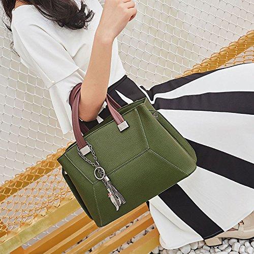 Wild Big Simple Handbags Shoulder Fashion Bag Bag Women's Practical Ability Darkgreen qT0w1xx