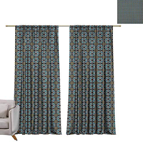 - berrly Grommet Blackout Curtains Retro,Abstract Floral Motifs Ornamental and Old Fashioned Mosaic Tile Pattern Vintage Style, Multicolor W72 x L108 Art Drapery Panels