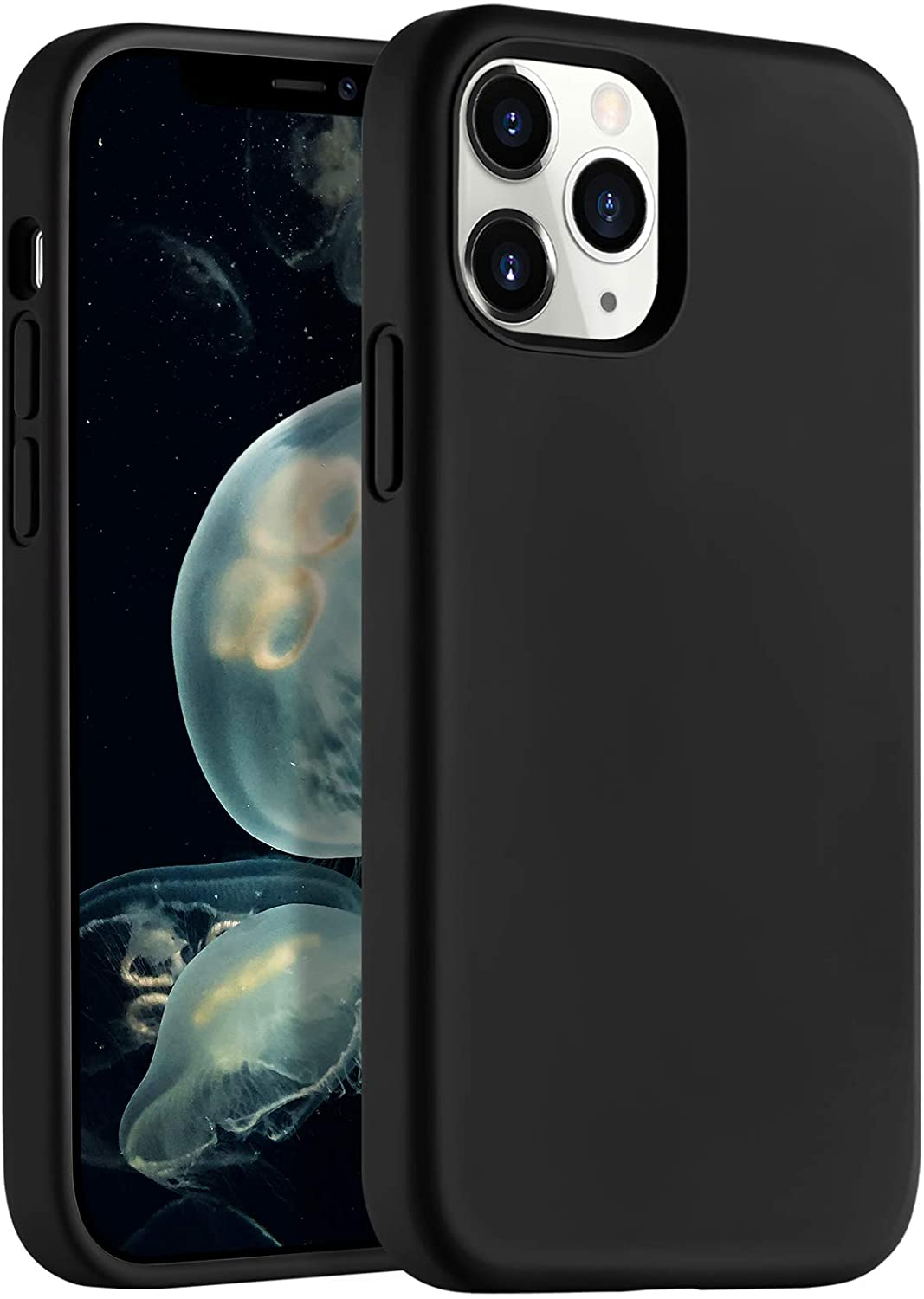 LEOMARON Compatible with iPhone 12 and iPhone 12 Pro Case 6.1 inch, Liquid Silicone Full Body Protection Cover Case with Soft Microfiber Cloth Lining for iPhone 12 and iPhone 12 Pro 2020, Black