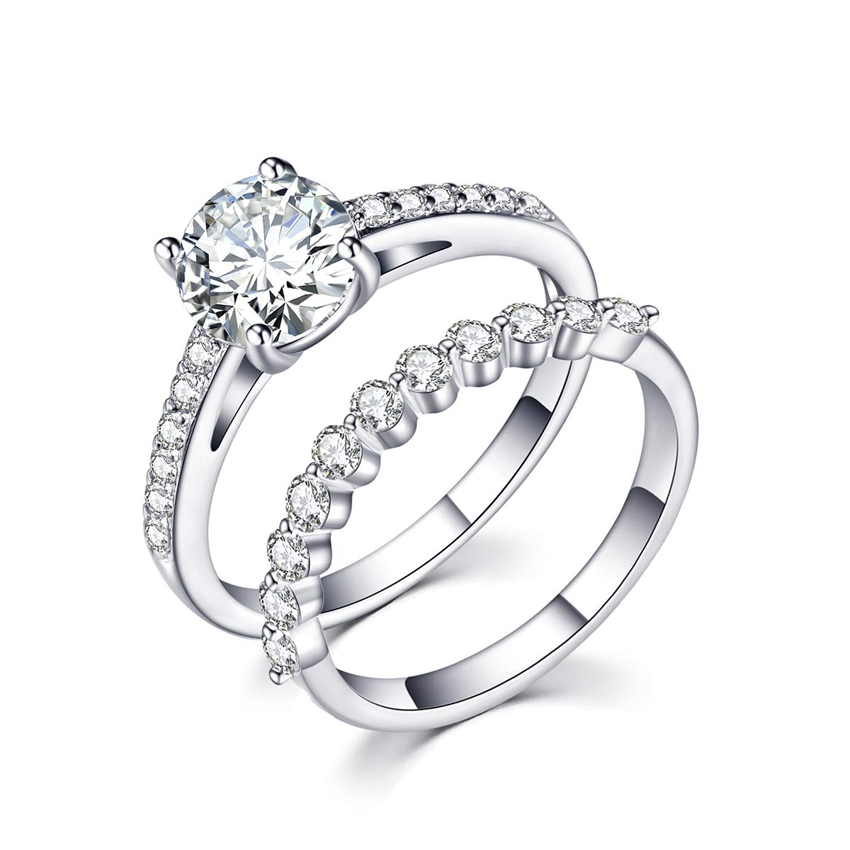 rongji jewelry Cubic Zirconia Wedding Stacking Ring - Sterling Silver Gem Grade CZ Ring Set for Women Engagement,Size7