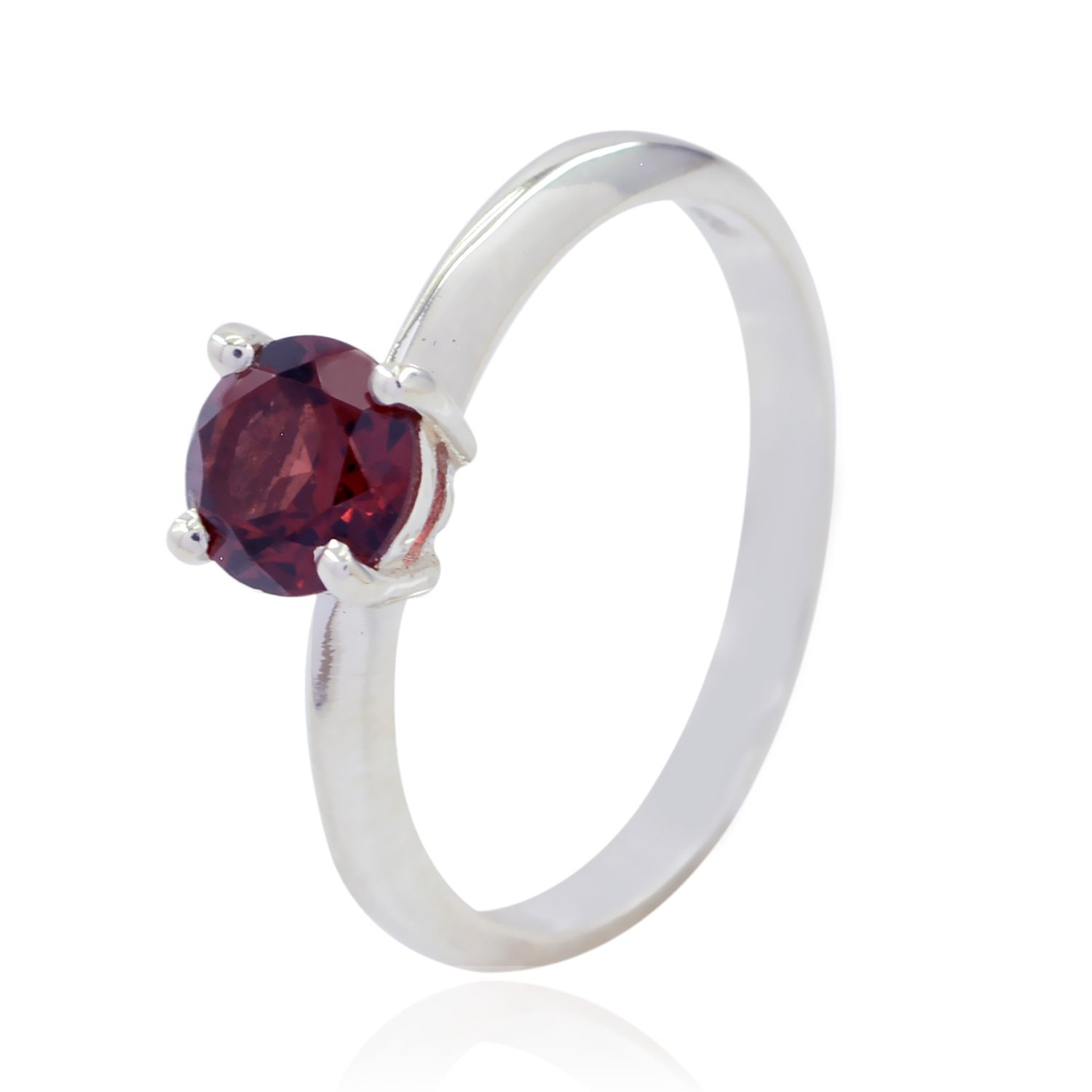 925 Sterling Silver Red Garnet Natural Gemstone Ring Natural Gemstone Round Faceted Garnet Rings top Jewelry fine Item Gift for Fathers Day top Ring