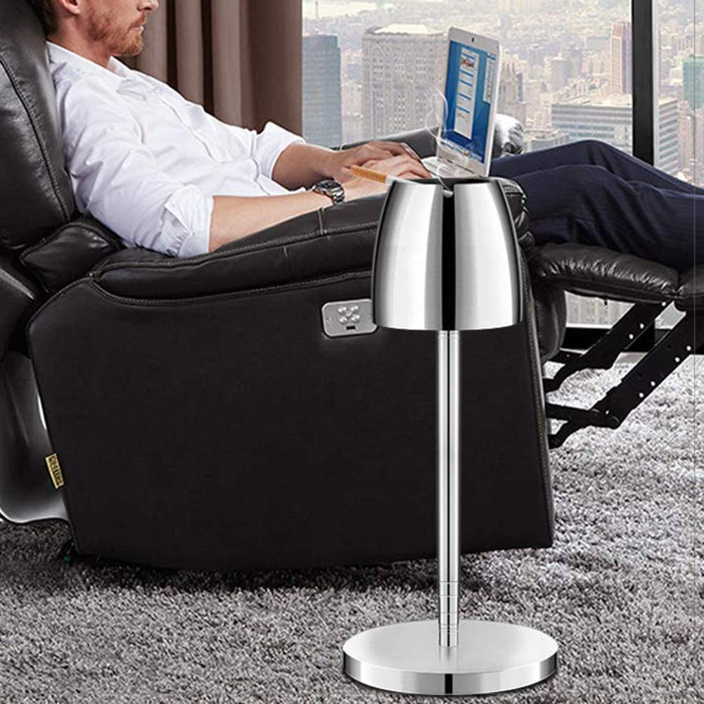 UTUT Floor Stand Ashtray Portable Outdoor Windproof Telescopic Floor Standing Ashtray for Hotel Party Bar Silver
