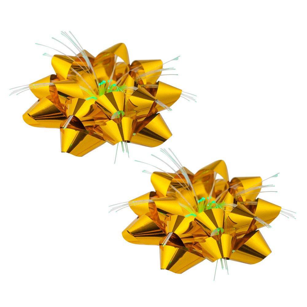 Vetrineinrete/® Coccarda Luminosa luci LED Biadesivo 2 Pezzi Decorazioni Natalizie Fiocco Oro Luce Cambia Colore Confezione Regalo addobbi di Natale