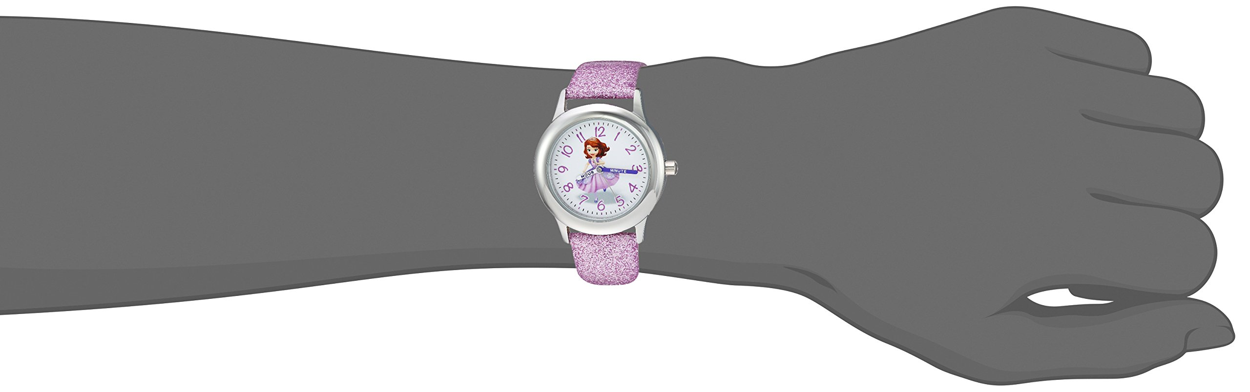 DISNEY Girls Princess Sofia Stainless Steel Analog-Quartz Watch with Leather-Synthetic Strap, Purple, 15 (Model: WDS000269) by Disney (Image #2)