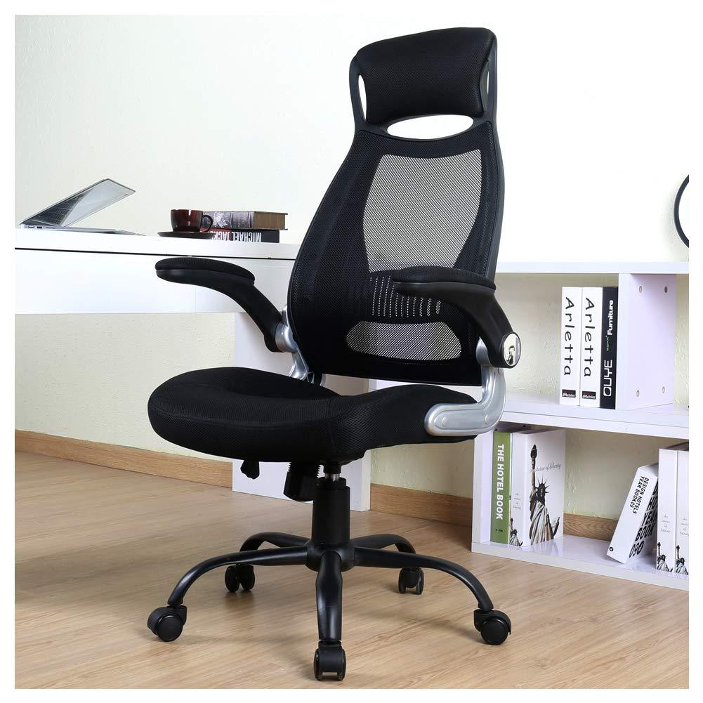 BERLMAN High Back Mesh Office Chair with Adjustable Armrest Lumbar Support Headrest Swivel Task Desk Chair Ergonomic Computer Chair (Black) by BERLMAN