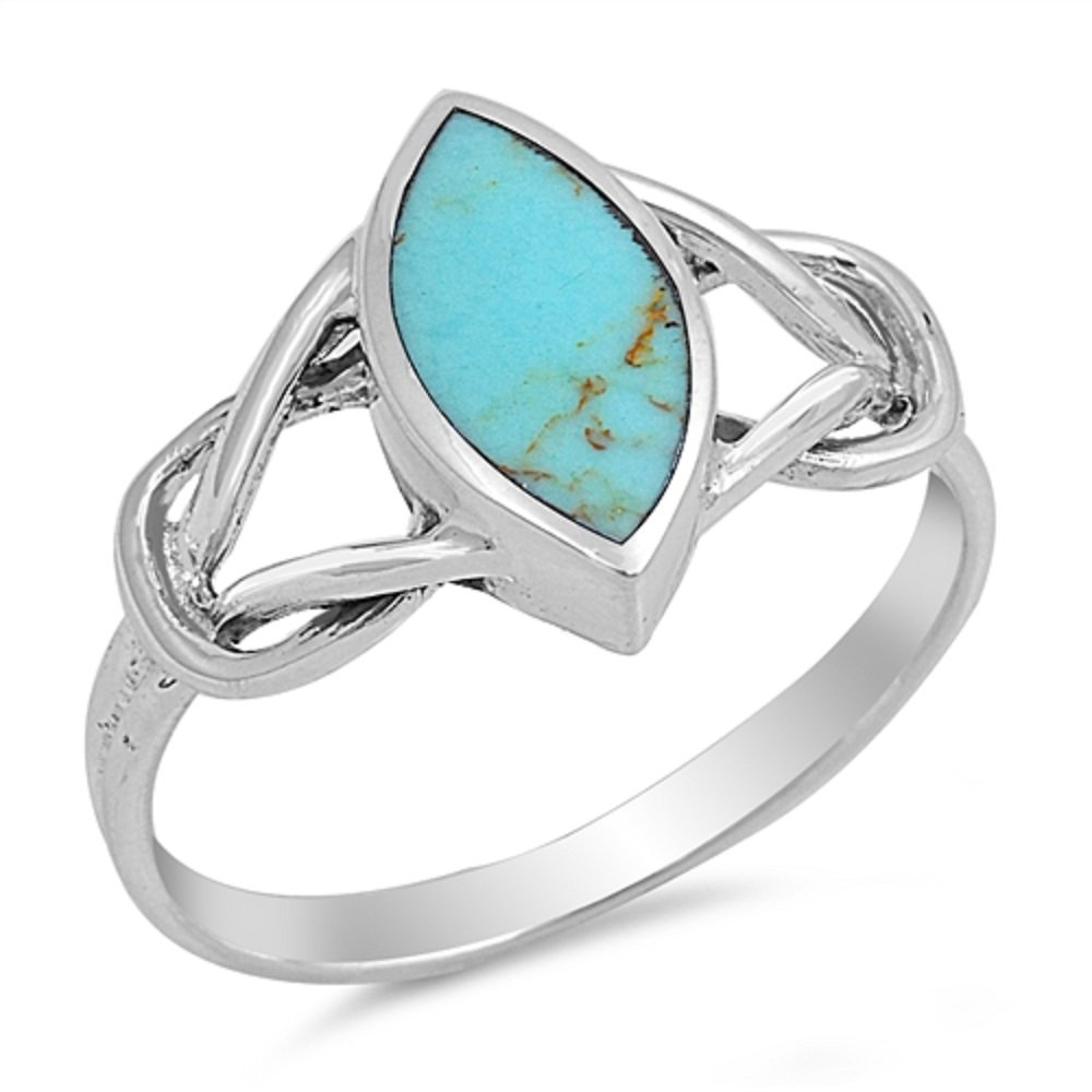 CloseoutWarehouse Marquise Center Simulated Turquoise knot Ring Sterling Silver 925 Size 8