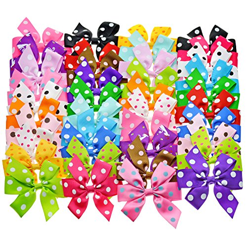 Baby Girls Ribbon Hair Bow Pairs, Alligator Hair Clips with Polka Dot Print for...