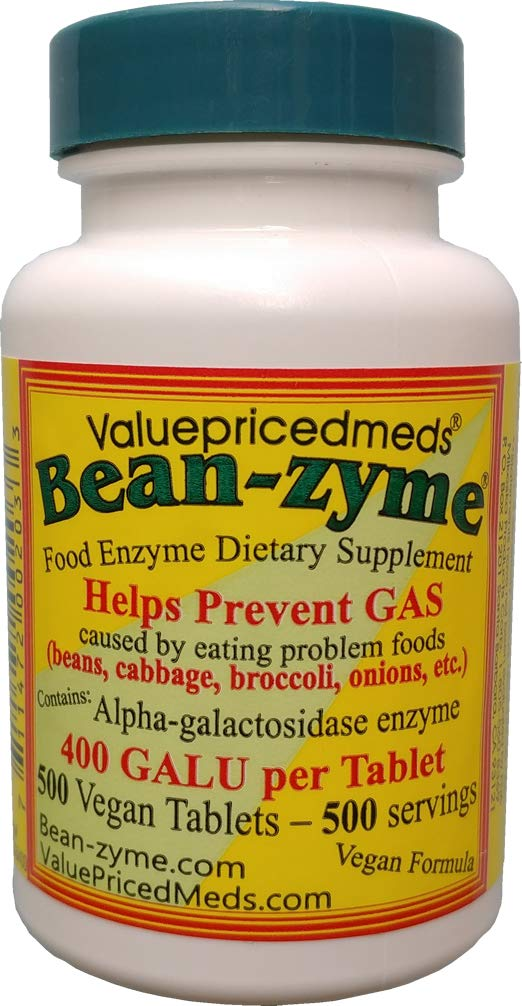 500 Count Bean-Zyme is 400 Galu per Tablet