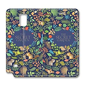 Brain114 Fashion Style Case Design Flip Folio PU Leather Cover Standup Cover Case with My Garden Pattern Skin for Samsung Galaxy Note 4