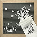 Gray Felt Letter Board 10x10 Inches – Natural Wooden Oak Frame Changeable, Microfiber Bag Free Gift – Best Home Office Decoration Grey Sign Message Bulletin Customizable By Felt Fox Supply Co