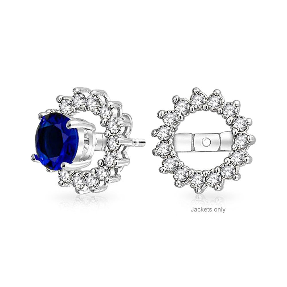 Sterling Silver CZ Round Halo Earring Jackets For Studs