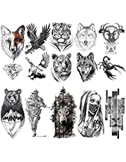 VANTATY 10 Sheets Realistic Tiger Temporary Tattoos Animals For Men Body Armband Soldier Tatoo Stickers For Women Scorpion Wolf Deer Elk Eagle Bear Dot Adults Forearm Tattoos Girls Kids Teens.