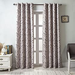 GYROHOME Floral Blackout Curtain Grommet Top Thermal Insulated Room Darkening Engery Saving Drape Noise Reducing No Formaldehyde,Sold in Pair(2 Panels)