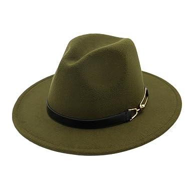 54877f224a8 Zhhlaixing Women Wool Felt Hat Wide Brim Vintage Panama Fedora Hats Autumn  Winter Jazz Cap For