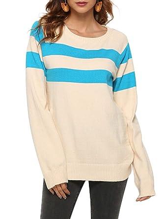 377f0aaa534c Womens Crew Neck Long Sleeve Stripe Sweater Colorblock Knit Jumper ...