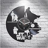 Star Wars Luke Skywalker r2-d2 Yoda Darth Vader Handmade Vinyl Wall Clock, Comics, Movie Marvel, DC, Home Decor, Wall Art, Decorations For Living Room Inspirational, Best Gift For Her, Han Solo Decor