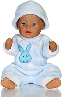 JIANGfu Pajama Clothing for 18 inch American Girl Dolls Bunny Jumpsuit Cap Pajama (Blue, A)