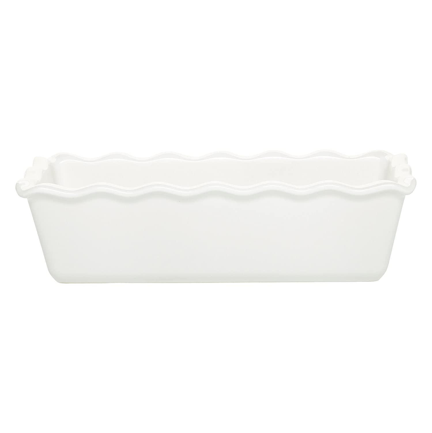 "Emile Henry Made In France Ruffled Loaf Pan, 9"" by 5"" by 3"", Flour White"