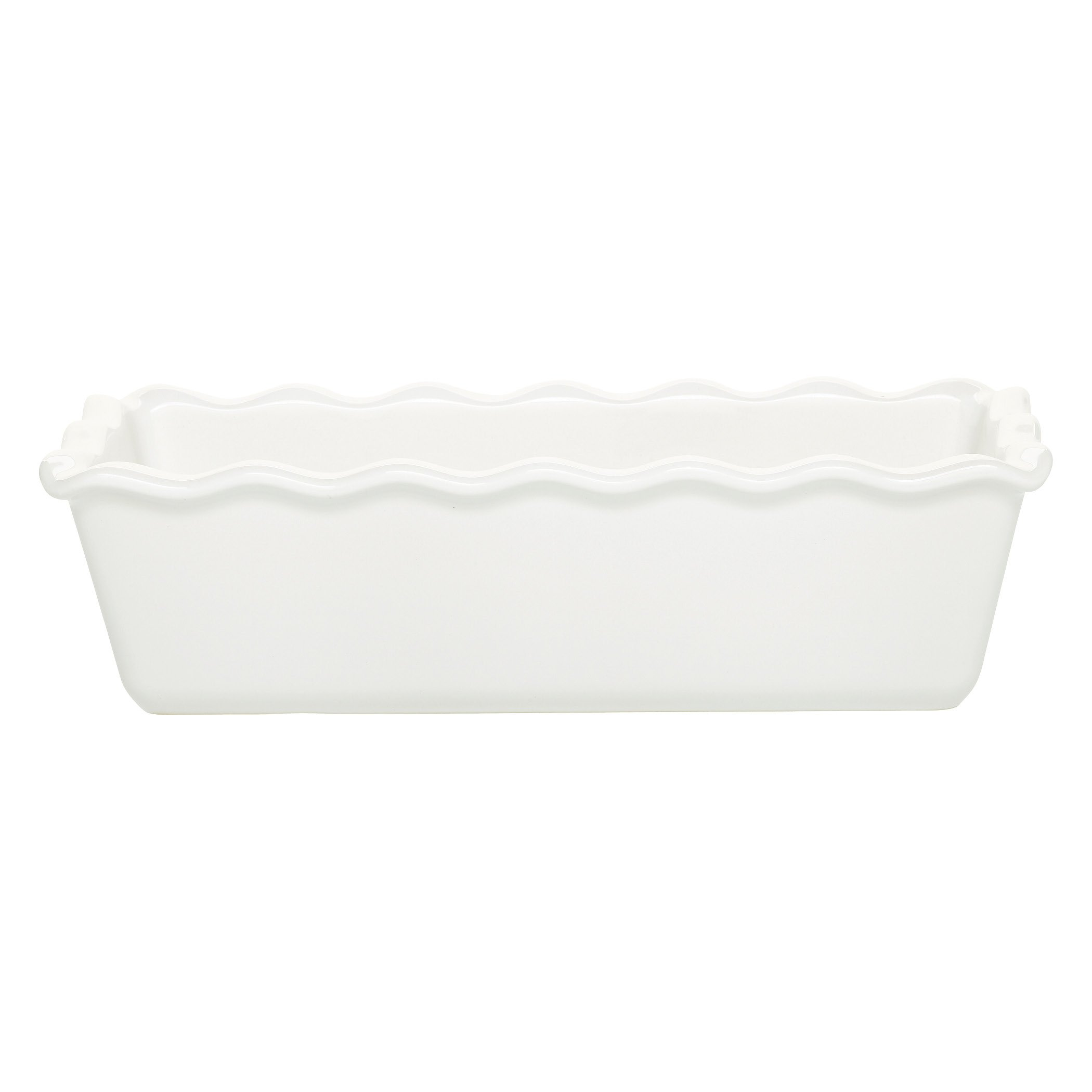 Emile Henry Made In France Ruffled Loaf Pan, 9'' by 5'' by 3'', Flour White