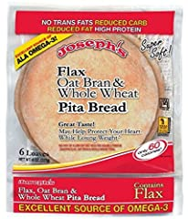Joseph's Oat Bran and Whole Wheat Flour Pita Bread has 1.5 grams fat, 0 cholesterol, 334 mg sodium, 10 total carbs (5g diegary fiber, 1 sugar), and 7g protien. That means each pita has a total of only 5 net carbs. The bread is made by Joseph'...
