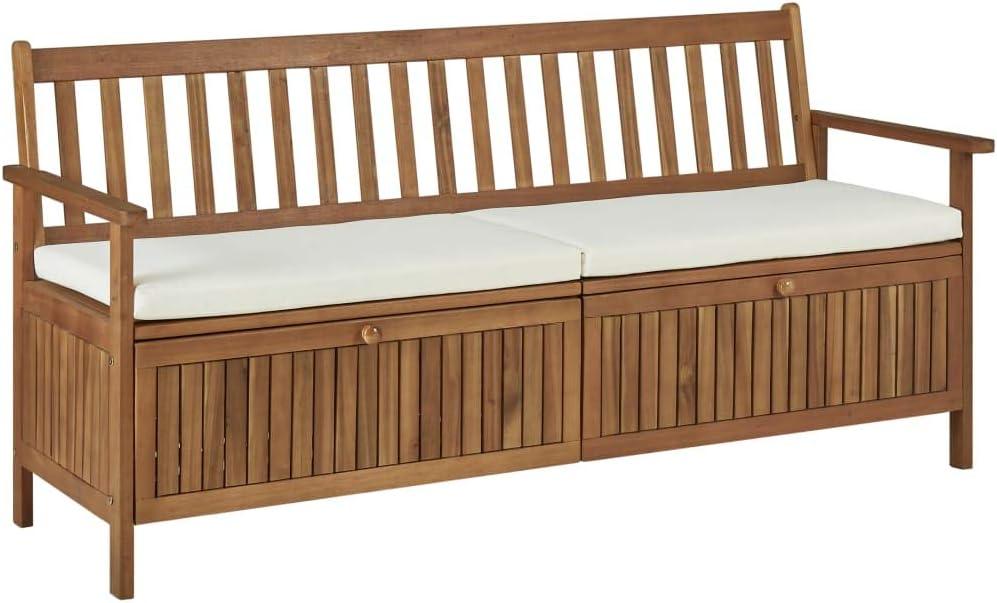 Festnight Banco de Almacenaje Banco Arcón Exterior Garden Bench con Cojín de Madera Maciza de Acacia 170 x 63 x 84 cm