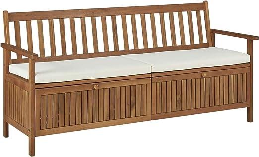 Festnight Banco de Almacenaje Banco Arcón Exterior Garden Bench con Cojín de Madera Maciza de Acacia 170 x 63 x 84 cm: Amazon.es: Hogar