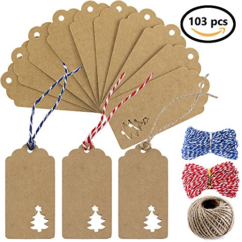Christmas Scrapbook Paper Printable - Supla 100pcs Kraft Paper Gift Tags Paper Cut Christmas Hang Tags Hollow Christmas Tree Design and 3 styles Crafts Twines