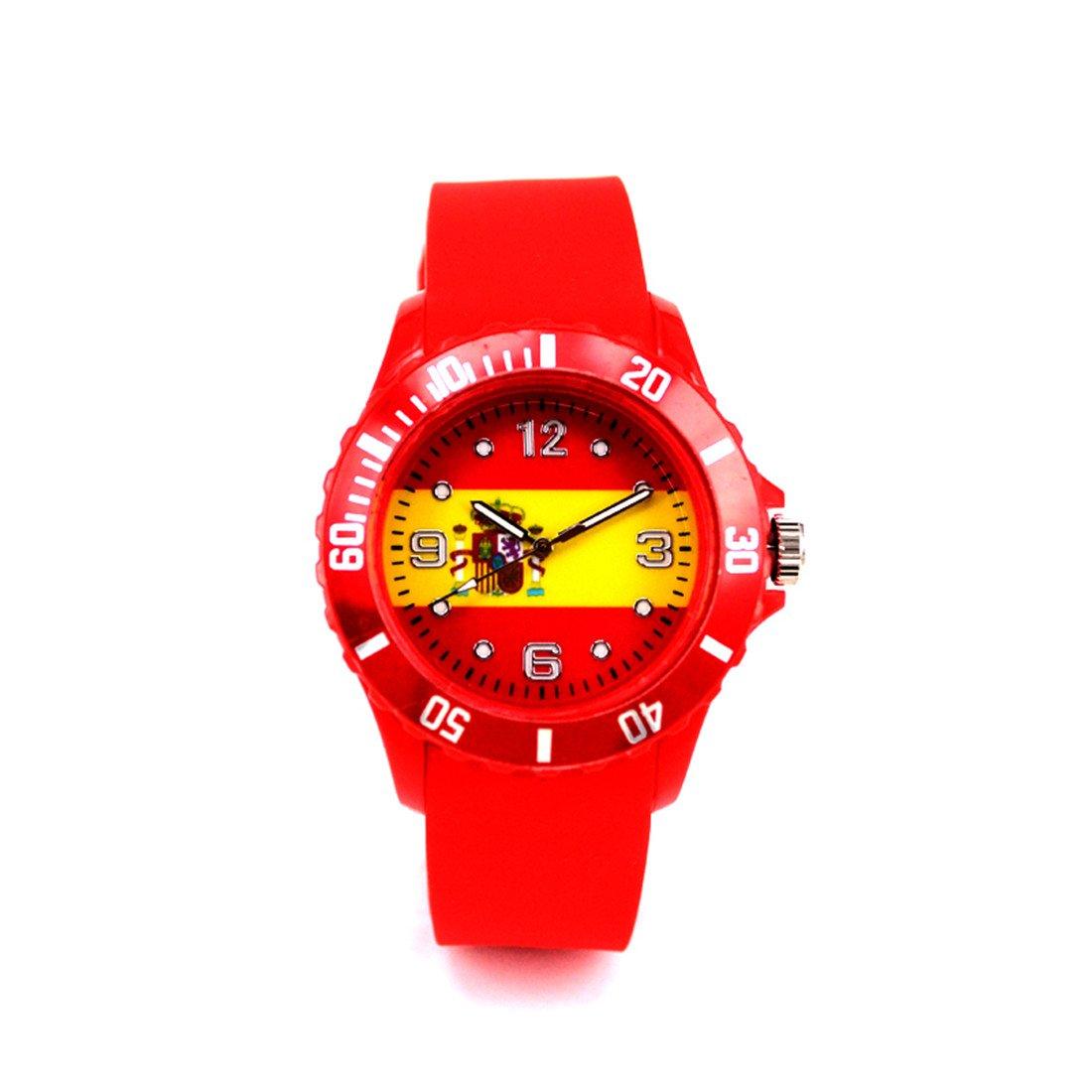 papasgjx Reloj Cuarzo Conmemorativa de la Copa Mundial de Bandera de España AU 13 A Reloj Redondo Pulsera Rojo de Gel de sílice Unisex 24 cm: Amazon.es: Relojes