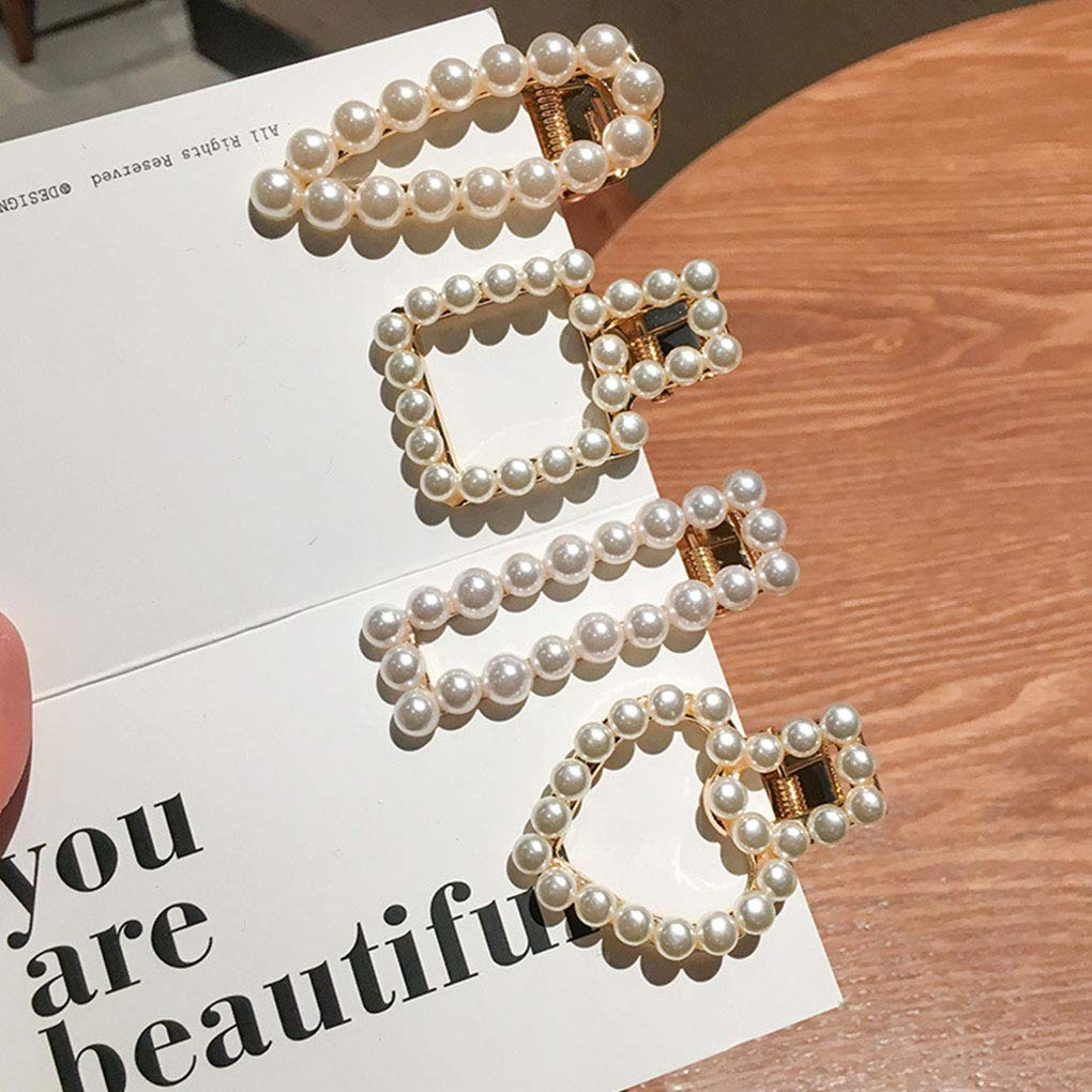 Luckiests Frauen-M/ädchen-Perlen-Hairpin Rechteck Wassertropfen Triangular Herz-Quadrat-Perlen-Haar-Klipp-Bowtie Ohrhaarschmuck