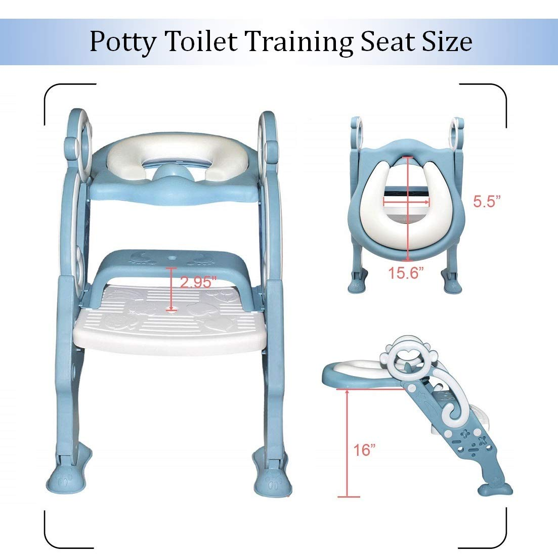 Potty Training Seat with Step Stool Ladder for Kids Children Toddler Toilet Training Seat Chair with Soft Cushion Safe Handles and Non-Slip Wide Steps Sturdy for Boys and Girls (Blue White) by DuDuEase