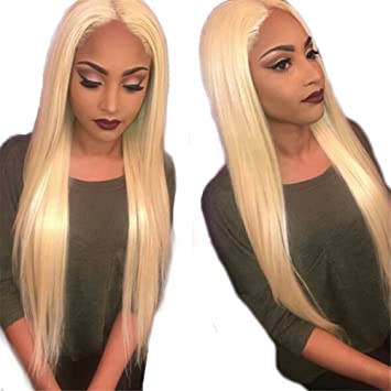 a162a299e Amazon.com : Oulaer Fashion Malaysian Lace Front Blonde Human Hair Wigs  Virgin Lace Front Siky Straight Wigs #613 Glueless Honey Silky Straight Wigs  With ...