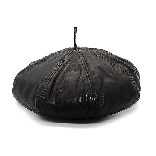 Maylian Mens Black Genuine Leather Painters Hat Beret Newsboy Cap at ... 6998568b6c11
