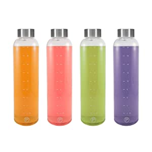 Pratico Kitchen 20 oz Leak-Proof Glass Bottles, Juicing Containers, Water/Beverage Bottles - 4 Pack with Stainless Steel Caps