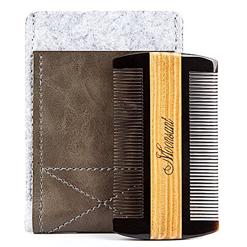 Beard Comb-Black Buffalo Horn&Green Sandal Wood Comb-Cool Pocket Comb for Men's Hair Beard Mustache and Sideburns - Perfect for Balm and Oils (Gray) Ox Mens Air