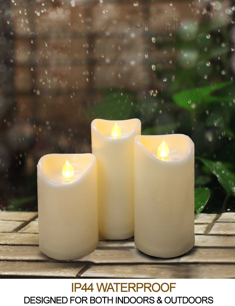 HOME MOST Set of 3 LED Pillar Candles Battery Operated (IVORY, 5''/6''/7'' Tall, Oblique Edge)- Flameless Candles Timer Outdoor Candles Waterproof - Electric Candles Battery Operated Plastic Candles Bulk by HOME MOST (Image #4)