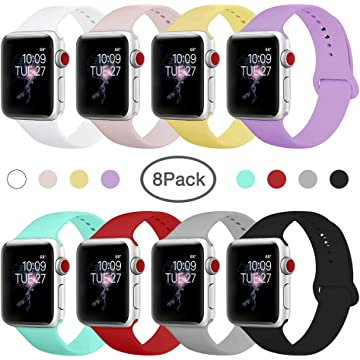 BMBMPT Smart Watch Band Compatible with Apple Watch 38mm 40mm 42mm 44mm,Soft Silicone Strap Replacement Wristbands for Watch Series 4/3/2/1(8 Pack 38mm/40mm S/M)
