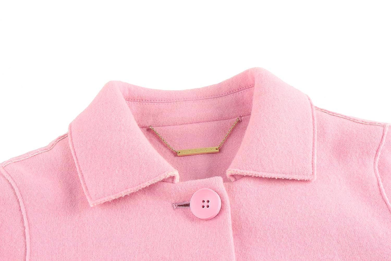 URLAZH Pink Single Breasted Womens Wool Longline Winter Warm Pea Coat Winter Jacket