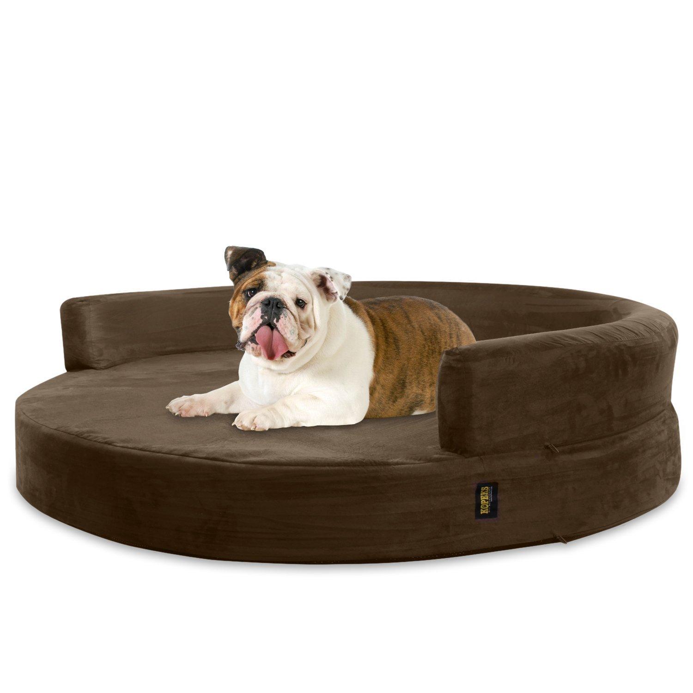 Brown Large Brown Large KOPEKS Deluxe Orthopedic Memory Foam Round Sofa Lounge Dog Bed Large Brown
