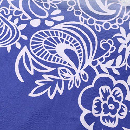 Manica Casual Shirt Camicetta Collo Senza Donna Blu Stampa Maniche Corta T BYSTE Maglia Tops Pizzo Maglietta Hollow Schienale Out Giuntura Camicia Blusa V w8cqSv6