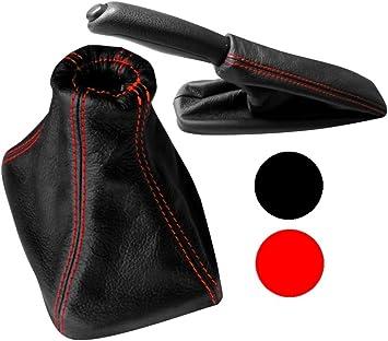 Cuffia leva cambio in pelle sintetica nero con cuciture nero AERZETIX